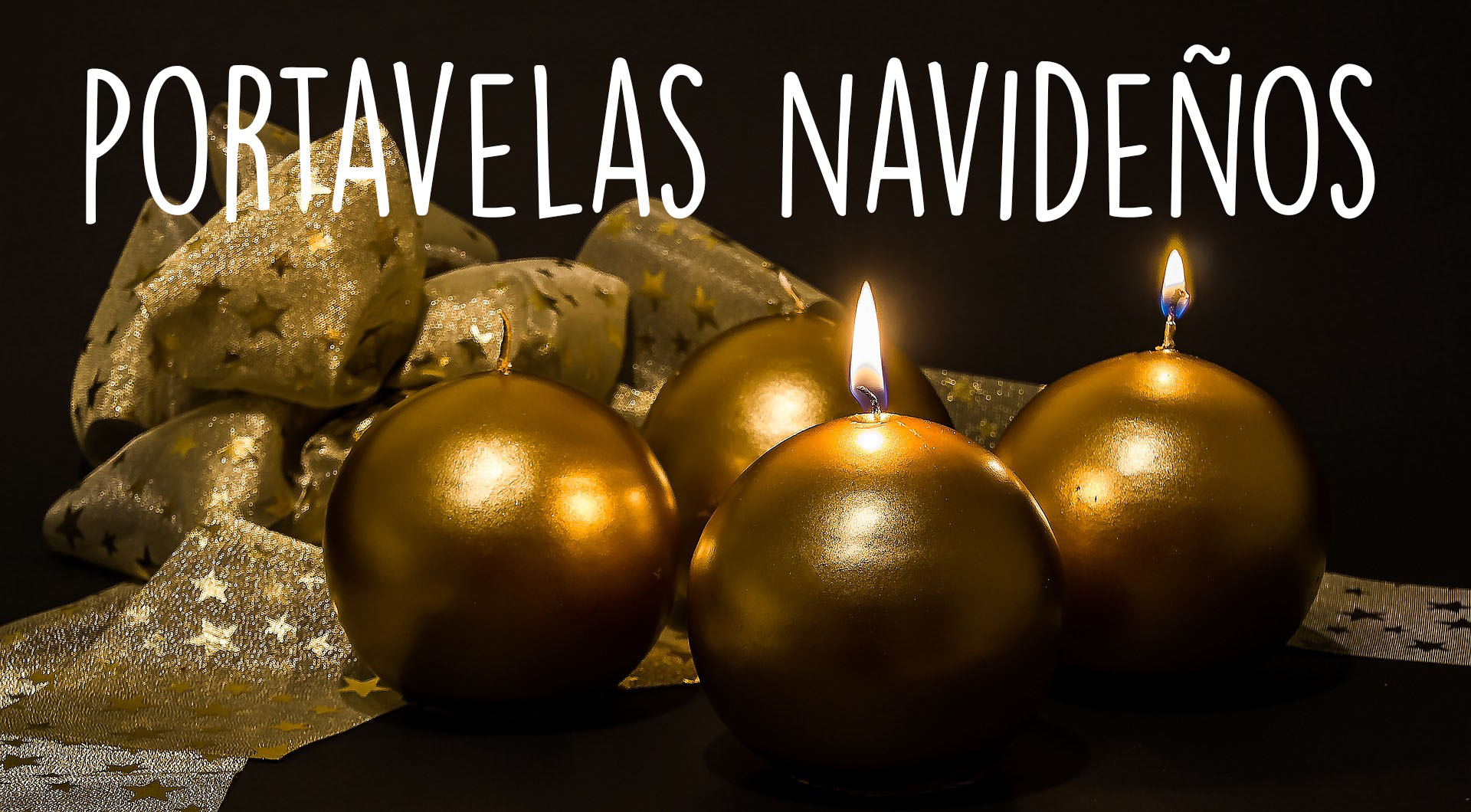 Portavelas dorados para la mesa de navidad