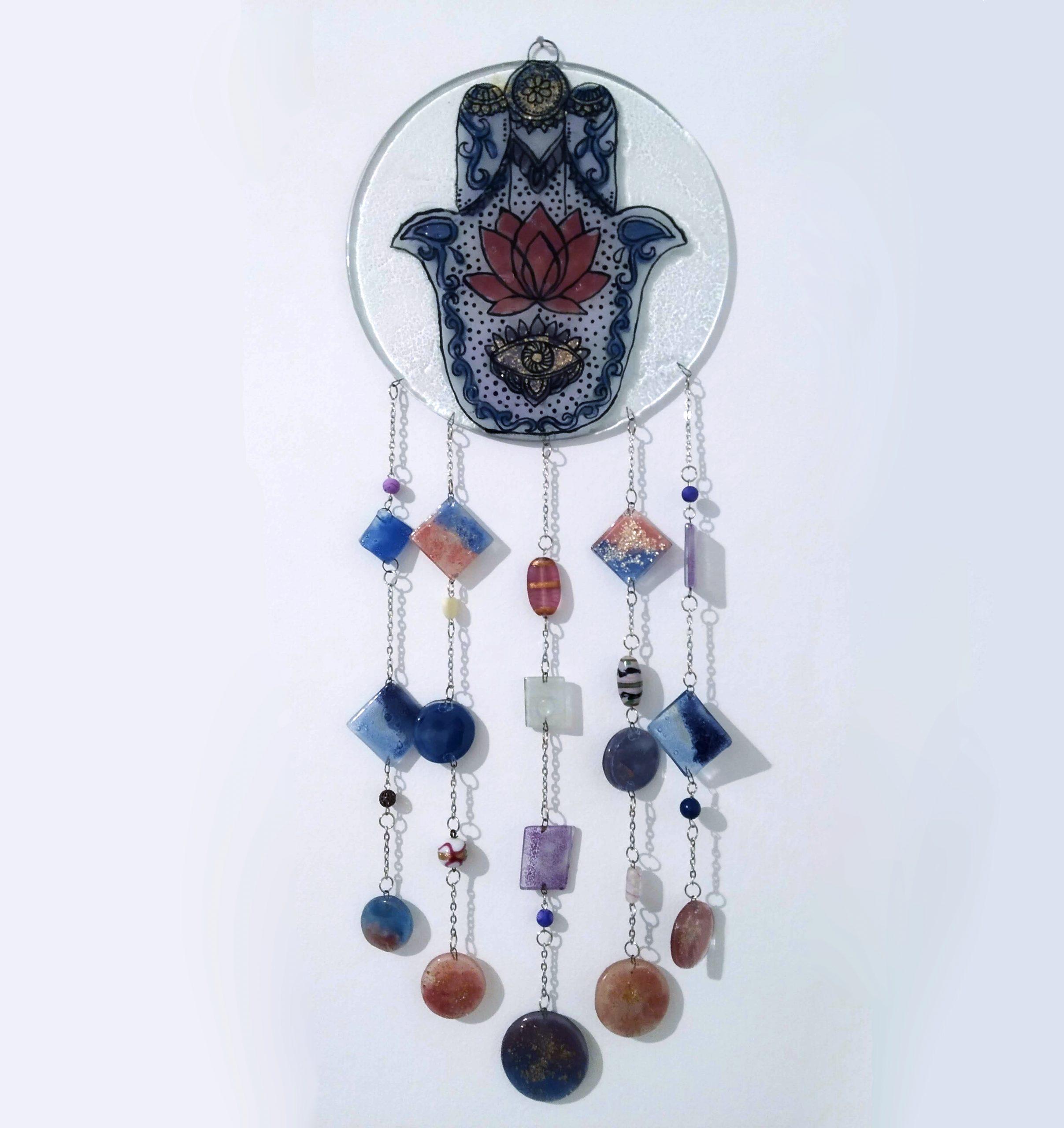 Llamador en vitrofusión con diseño de Mano de Fátima
